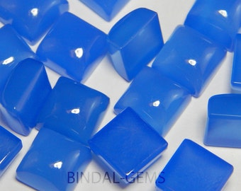 25 Pieces Lot Blue Chalcedony Square Shape Loose Smooth Polished Gemstone