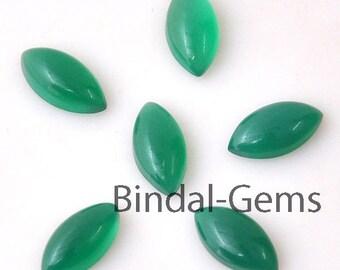 10 Pieces Wholesale Lot Wonderful Green Onyx Marquise Shape Cabochon Gemstone For Jewelery