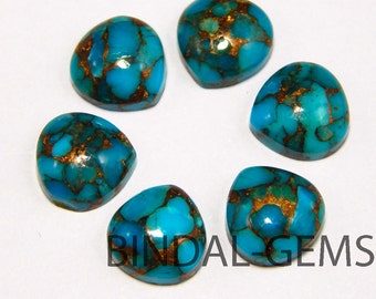 10 Pieces Blue Copper Turquoise Heart Shape Loose Smooth Polished Gemstone
