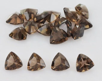 25 Pieces Wholesale Lot Smoky Quartz Trillion Faceted Cut Loose Gemstone For Jewelry