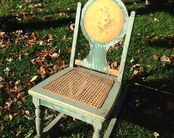 Darling hand painted, caned seat, child's antique rocker, 1930's, sweet, shabby chic, painted flowers, rocking chair