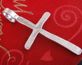 925 sterling silver large cross lightly oxidized , silver large cross, siolver cross