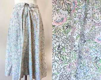 vintage pastel skirt // pastel print skirt // vintage a line skirt