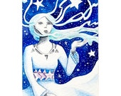 ACEO original watercolour illustration - star goddess