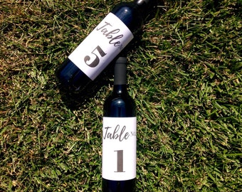 Wine Bottle Table Number Stickers | Calligraphy Wine Bottle Label | Wedding Wine Label Table Number Centerpiece Event Gala Table No