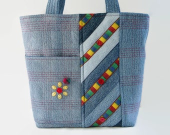 Quilted Jean Handbag, Small Denim Jean Tote Bag, Blue Red Yellow and Green Vintage Trim Fabric Bag, Upcycled Recycled Repurposed Denim Purse