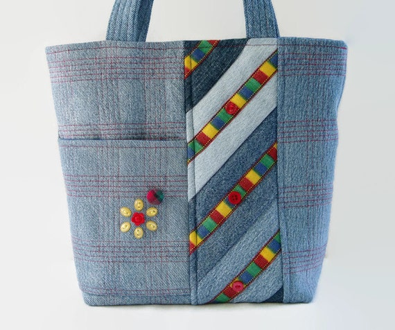 Quilted Jean Handbag Small Denim Jean Tote Bag Blue Red