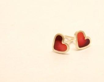 Heart stud earrings -  Sterling Silver Ear Studs -  Red -  Heart earrings -  Spring - Summer  - Valentine's Day