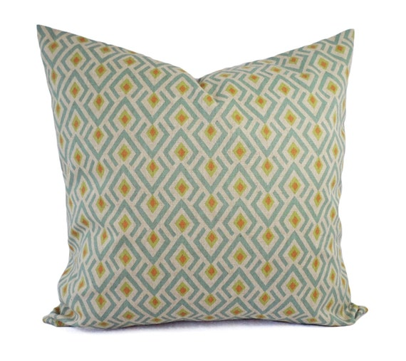 Blue Green Orange Throw Pillows : Orange Green and Blue Decorative Pillow Covers Two Geometric