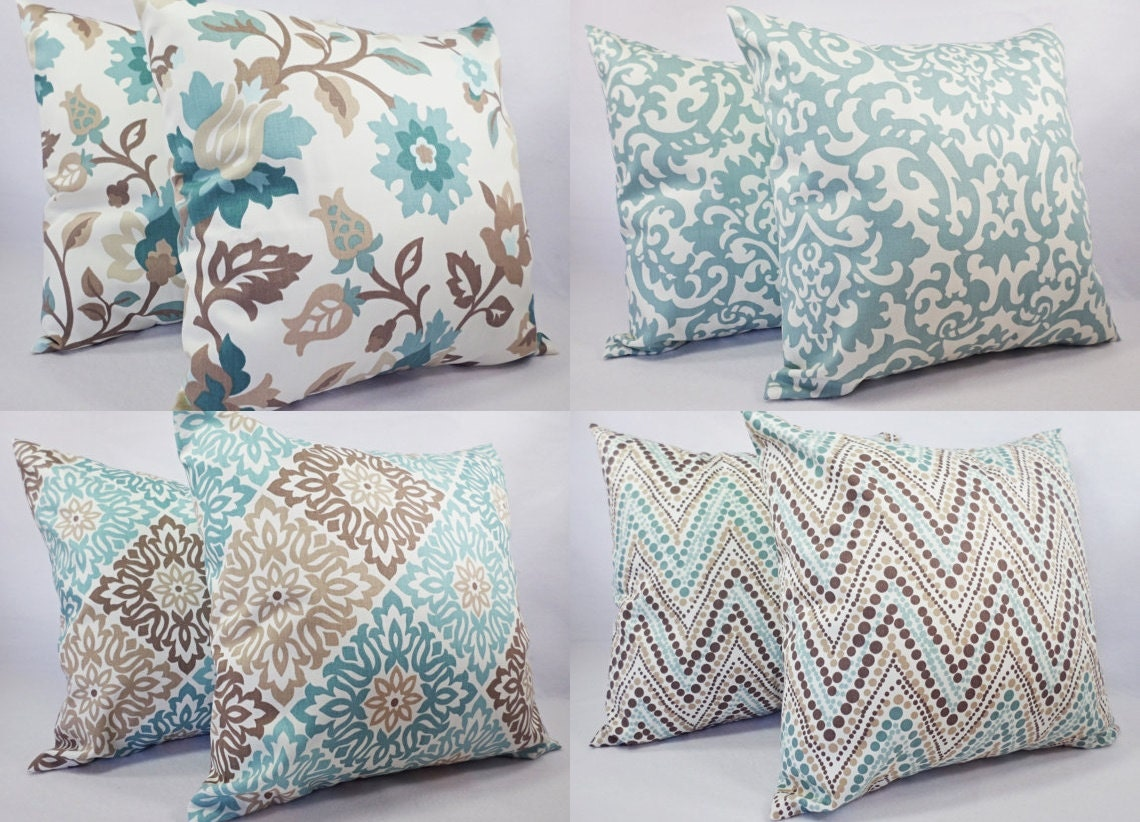 Blue and Brown Pillow Cover Decorative Throw Pillow Cover