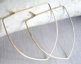 LARGE CREST HOOPS - Pointed Arch Hoop Earrings - Sterling Silver, Gold, Rose Gold Hammered Hoops