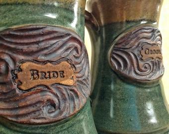 Bride and Groom handmade pottery mugs