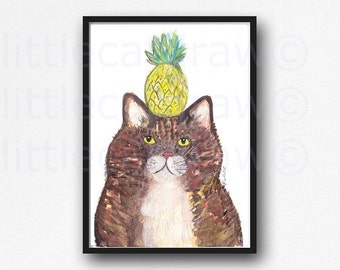 Cat Print Tropical Kitty Cat Pineapple Print Watercolor Painting Pineapple Cat Art Print Unframed Watercolour Wall Art Cat Lover Gift