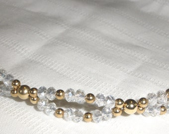 Crystal and Gold Double Strand Loop Bracelet