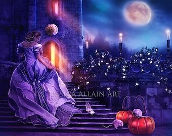 Fairytale art print | Fairytale wall decor | fantasy piture | fantasy decor | vibrant colors | glass slipper | purple and blue | square art