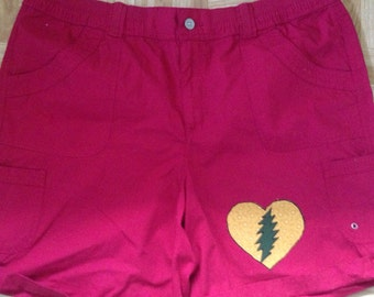 Grateful dead bob marley one lovelight heart rasta shorts size 18