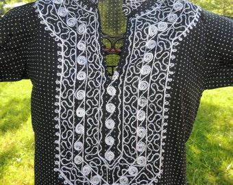 VC000016 Kaiser Caftan Kaftan Tunic Hippie Boho Embroider Green Polka dot Wedding Dress Vintage long dress -by God Oddities Decor on Etsy