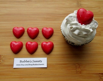 HEART Chocolate Cupcake Toppers (24) - Valentine Favors/Classroom Favors/Love is Sweet