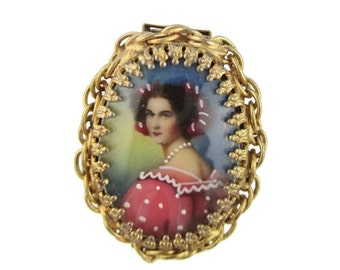 Victorian revival Painted Lady Portrait  Gold Tone Cameo Pin Brooch - Convertable Combination necklace Double Clasp /Pin