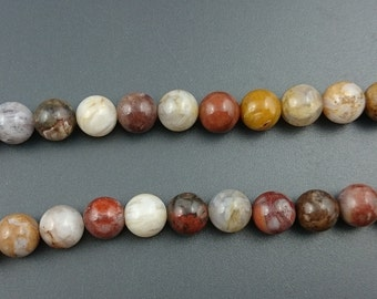 Natural Red Bamboo Agate Beads, Agate Stone Beads, Round Loose Gemstone Beads 10mm 15'' Strand
