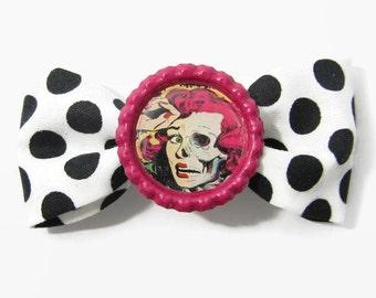 retro horror hair bow - rockabilly pinup popart hair accessory clip