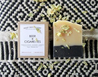 Beer and Cigarettes Cold Process Soap Small Batch Tobacco Leaves Lavender Buds Damp Oakmoss
