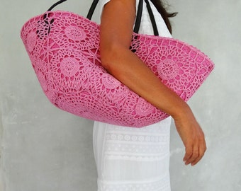 Beach Basket, Raffia Tote, Straw Bag,Boho Crochet Bag, Pink Handbag