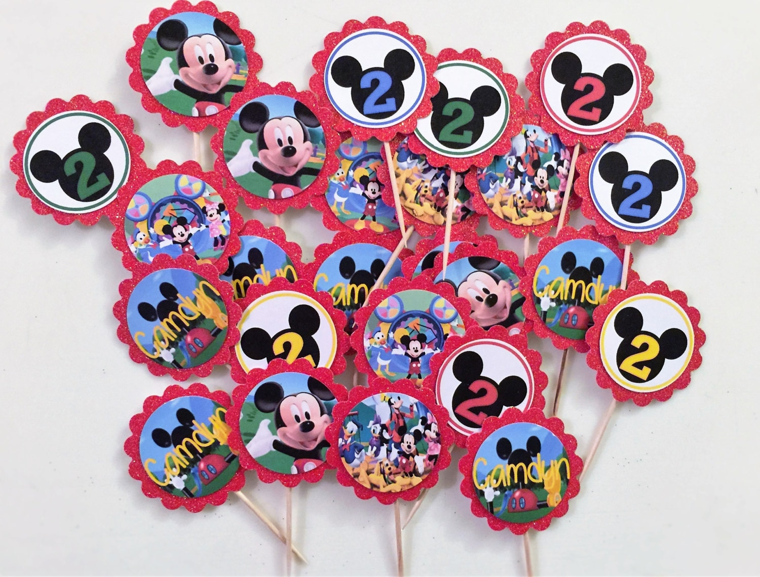 24 Mickey Mouse Clubhouse Cupcake Toppers birthday cupcakeMickey Mouse Cupcake Toppers