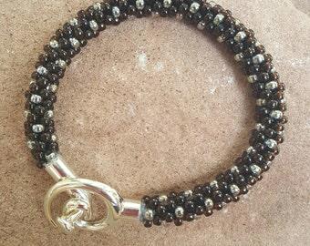Tuxedo Kumihimo Beaded Bracelet