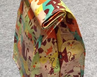 Cat Lunch Bag / Laminated Fabric / Orange