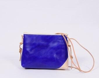 UNIKAQUE leather purse Stine in cream*blue