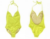 vintage chartreuse low back one piece swimsuit XS