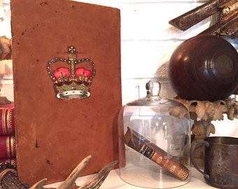 Crown Transfer on Old Leather Book Back | wall hanging