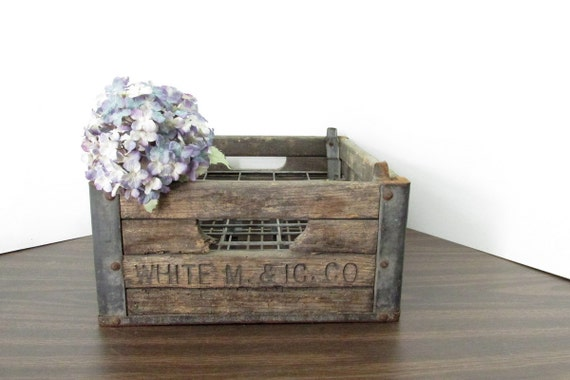 Vintage Wood Milk Crate / White I C & M Co by ...