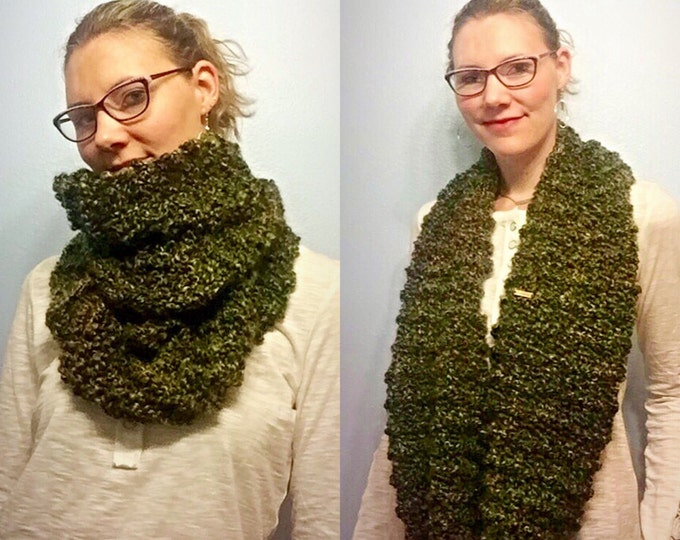 SALE! Hunter Green Chunky Infinity Scarf and Cowl, Large Loose Knit Infinity Scarf, Cowl and Wrap in Greens and Browns