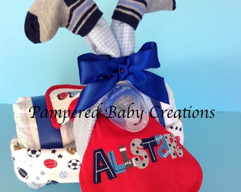 Sports themed Diaper Cake - Boy Diaper Tricycle - Diaper Tricycle