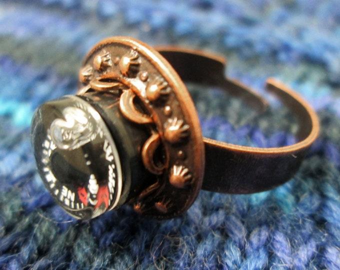 Mini Compass Ring - Metal Rivet Circle - Copper Tone
