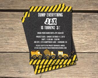 Under Construction Dump Everything Birthday Invitation- 5x7