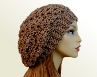 Slouchy Beanie Hat Taupe Light Brown Tan Slouch Hat Festival Clothing  Crochet Beany Hat Knit Wool Hat Slouchie Beany Women Hats