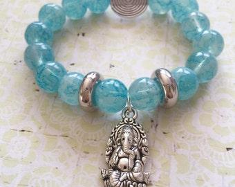 Turquoise beaded bracelet/beaded glass bracelet/ turquoise and silver bracelet/turquoise jewelry/Yoga bracelet/Gemstones Turquoise bracelet