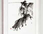 The Soul of Samurai, Abstract Painting, Calligraphy Style Artwork, Bushido, Samurai Sword