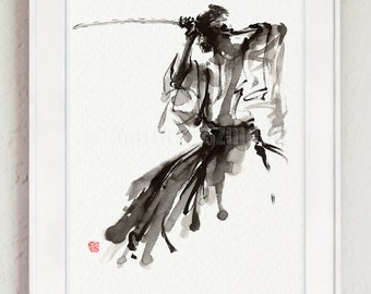 The Soul of Samurai, Abstract Painting, Calligraphy Style Artwork, Bushido, Samurai Sword