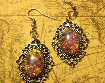 Harlequin Filigree Steampunk Earrings