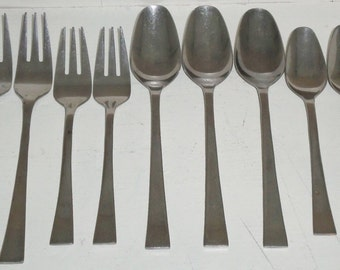 "9pc ""Rogers Stainless Korea"" SRB33 Kristen Square pattern Flatware Spoons &Forks"