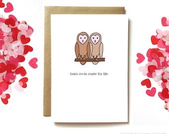 Anniversary love card. card for husband, boyfriend, wife or girlfriend. Owl card.