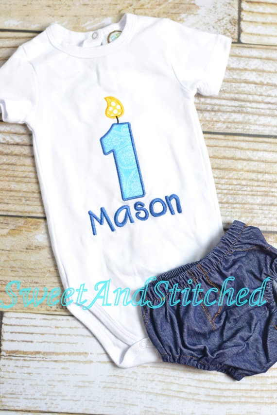 First Birthday boy Shirt or tee with blue birthday candle - Baby boy first birthday shirt!  Cake Smash Outfit!