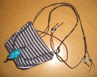 OOAK MEDICINE POUCHES of re-purposed denim canvas, stitchless, handcrafted,