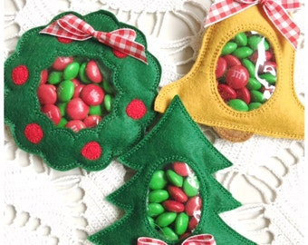 Candy Holder Machine Embroidery Christmas Set - Pine Tree, Wreath and Bell - Machine Embroidery Instant Download Design