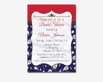 Navy Blue Paisley and Ruby Bridal Shower Invite - Printable