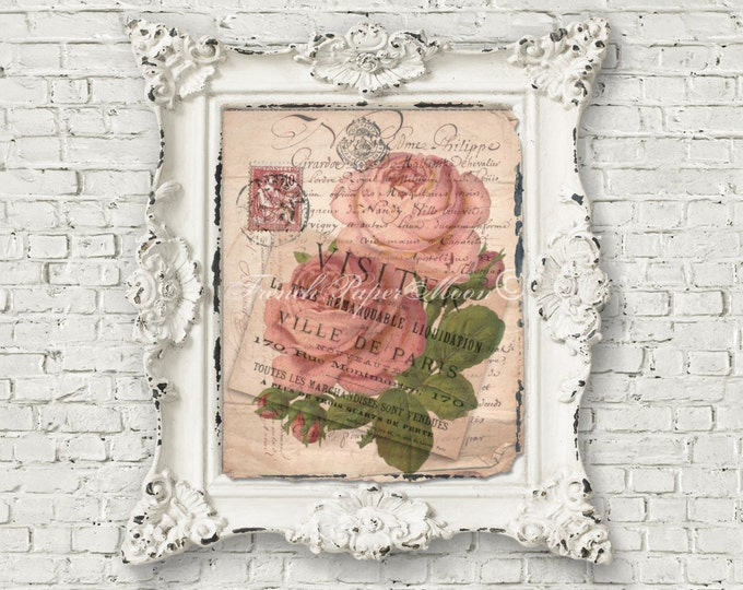 French Shabby Chic Roses, French Rose Digital, Pink Roses, French Pillow Transfer Graphic